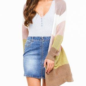 NWT Striped Colorblock Long Sleeve Cardigan